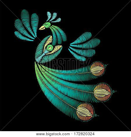 Embroidery with peacock bird. Template for fabric, textile floral print. Fashion design for decoration. Vector illustration on black background.