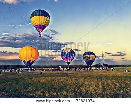 Air balloons flying in the blue sky. Colorful air balloons float exhibition in the countryside field. Round travel transport. Sunset sky with flight vehicle. Beautiful sky view with zeppelins image