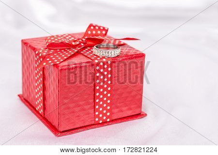 Red Gift Box With Red Bow And Diamond Ring