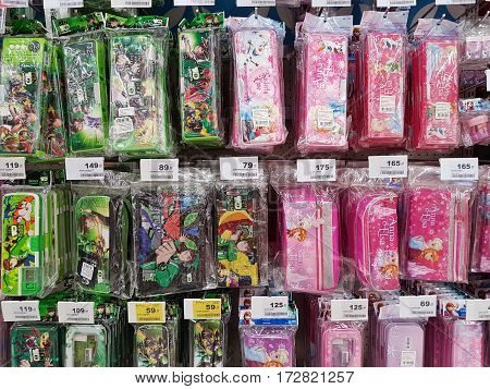 CHIANG RAI THAILAND - FEBRUARY 15 : various brand of pencil box with famous cartoon characters in packaging for sale on supermarket stand or shelf on February 15 2017 in Chiang rai Thailand.