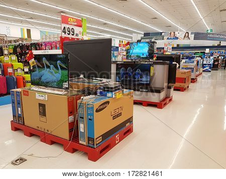 CHIANG RAI THAILAND - FEBRUARY 15 : department store interior view with aisle and various electric products for sale on February 15 2017 in Chiang rai Thailand.