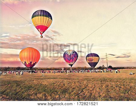 Air balloons flying in the blue sky. Colorful air balloons float exhibition in the countryside field. Romantic travel transport. Sunset sky with flight vehicle. Beautiful sky view with zeppelins print