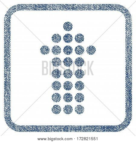 Dotted Arrow Up vector textured icon for overlay watermark stamps. Blue jeans fabric vectorized texture. Symbol with scratched design inside rounded rectangular frame.