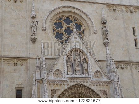 Gable triangle above the main entrance to the Cathedral of Assumption of the Blessed Virgin Mary in Zagreb, Croatia