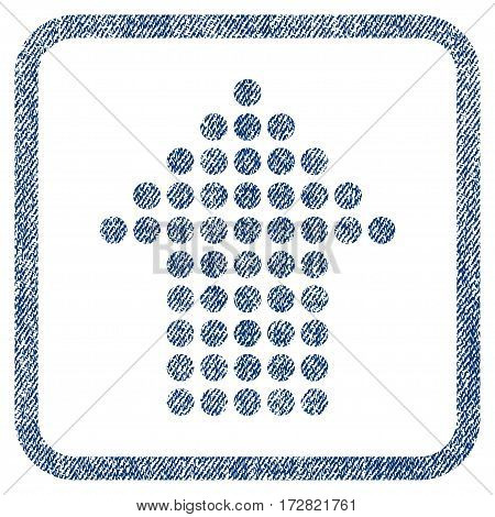 Dotted Arrow Up vector textured icon for overlay watermark stamps. Blue jeans fabric vectorized texture. Symbol with unclean design inside rounded rectangle.