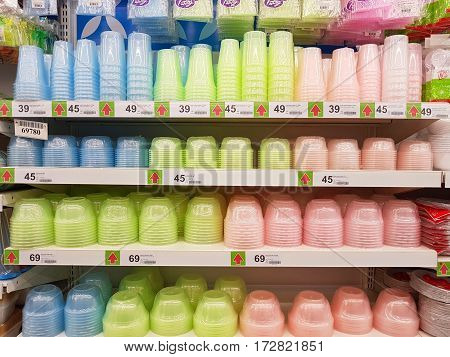 CHIANG RAI THAILAND - FEBRUARY 15 : various brand of plastic bowls in packaging for sale on supermarket stand or shelf on February 15 2017 in Chiang rai Thailand.