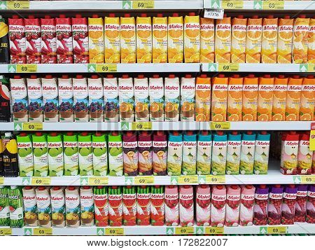 CHIANG RAI THAILAND - FEBRUARY 15 : various brand of fruit juice in packaging for sale on supermarket stand or shelf on February 15 2017 in Chiang rai Thailand.