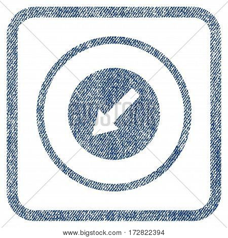 Down-Left Rounded Arrow vector textured icon for overlay watermark stamps. Blue jeans fabric vectorized texture. Symbol with dirty design inside rounded rectangular frame.