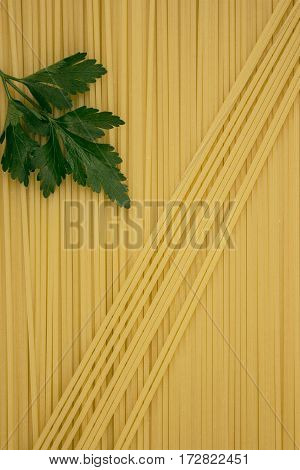 Thin Pasta Arranged In Rows. Yellow Italian Pasta. Long Spaghetti.. Thin Spaghetti. Food Background