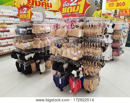 CHIANG RAI THAILAND - FEBRUARY 15 : various brand of brassiere on supermarket stand or shelf on February 15 2017 in Chiang rai Thailand.
