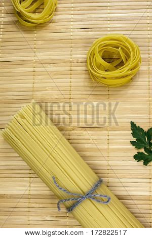 Bundled Dried Tagliatelle Pasta
