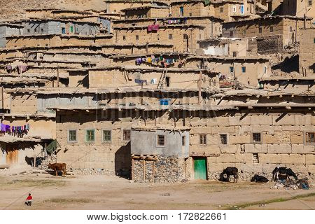 Part of Small village  in the High Atlas Mountains  in Morocco. Build with mud bricks