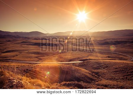 scenic mountain road at sunset in Morocco Atlas mountains