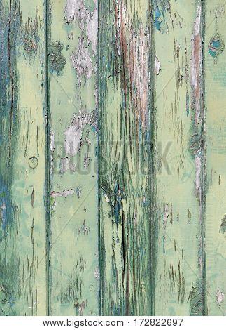 Flaky green paint on weathered wooden door
