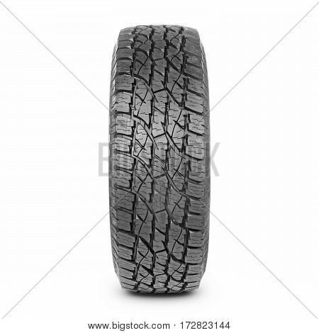 Car Tire Isolated On White Background. Semi-trailer Truck Tire. Tractor Tire. Black Rubber Truck Tir