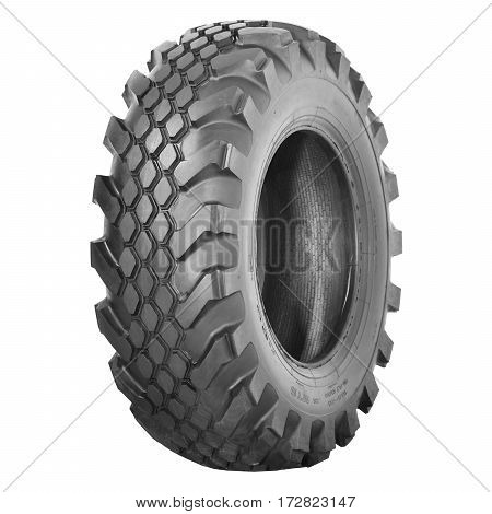 Car Tire Isolated On White Background. Tractor Tire. Black Rubber Truck Tire. Clipping Path