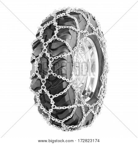 Car Tire With Stainless Steel Snow Chains Isolated on White Background. Semi-Trailer Truck Tire. Tractor Tire. Black Rubber Truck Tire. Clipping Path