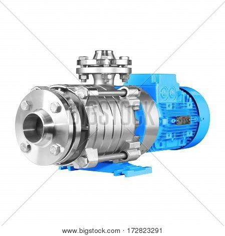 Water Pump Isolated On White Background. Multiphase Wastewater Pump. Blue And Stainless Steel