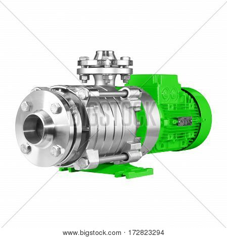 Water Pump Isolated On White Background. Multiphase Wastewater Pump. Green And Stainless Steel