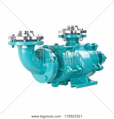 Water Pump Isolated On White Background. Multiphase Wastewater Pump. Stainless Steel