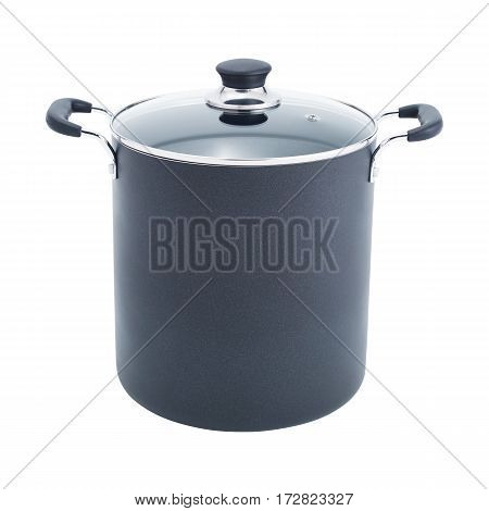 Black Nonstick Stockpot With Glass Lid Isolated on White Background. Cooking Pots With Glass Lid. Cooking Pan