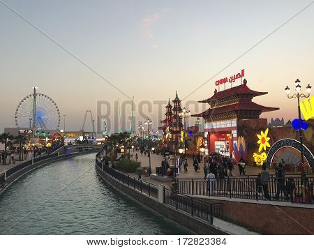 DUBAI, UAE - Feb 8: China pavilion at Global Village in Dubai, UAE, as seen on Feb 8, 2017. The Global Village is claimed to be the world's largest tourism, leisure and entertainment project.