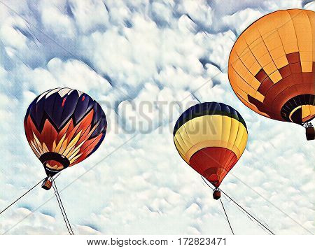 Air balloons flying in blue sky. Hot air balloons festival sketch banner template. Romantic travel transport. Vintage flight vehicle with the basket for passengers. Multicolored hot air balloons in sky
