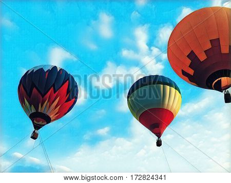 Air balloons flying in bright blue sky. Abstract hot air balloons floating festival. Romantic travel transport. Vintage flight vehicle with the basket for passengers. Multicolored hot air balloons in sky