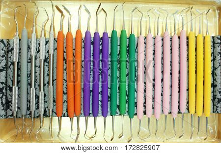Set of dental instruments on a tray