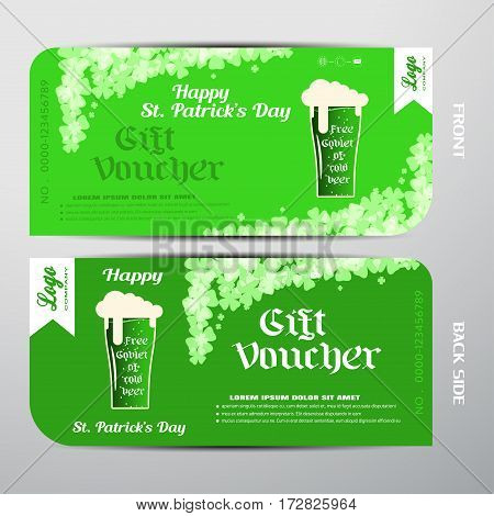 Blank of vector gift voucher for Happy St. Patrick's Day with gradient green background free goblet of cold beer.