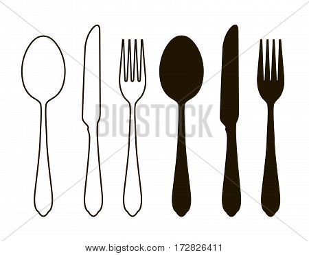Table setting, tableware. Cutlery, set of fork, spoon and knife. Silhouette vector illustration isolated on white background