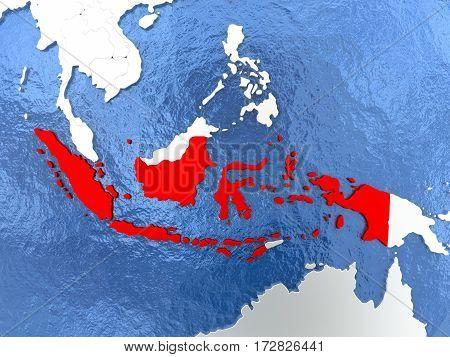 Indonesia On Globe