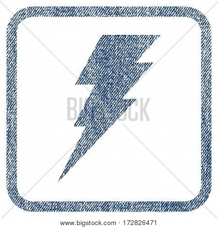 Execute vector textured icon for overlay watermark stamps. Blue jeans fabric vectorized texture. Symbol with scratched design inside rounded rectangle.