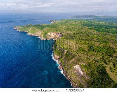 Aerial shot of the island of Nusa Penida, Indonesia