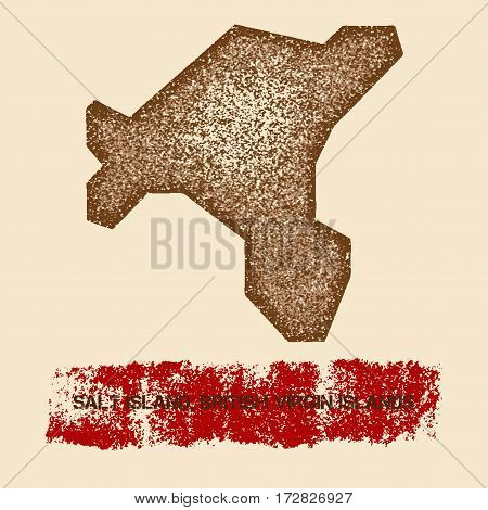 Salt Island, British Virgin Islands Distressed Map. Grunge Patriotic Poster With Textured Island Ink