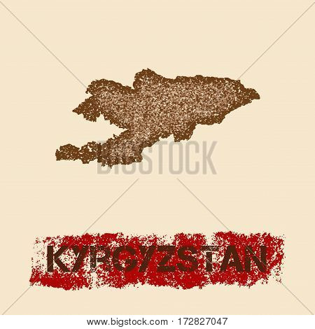 Kyrgyzstan Distressed Map. Grunge Patriotic Poster With Textured Country Ink Stamp And Roller Paint