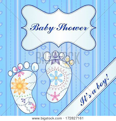 Vector background with banner ant feet baby shower boy gradient