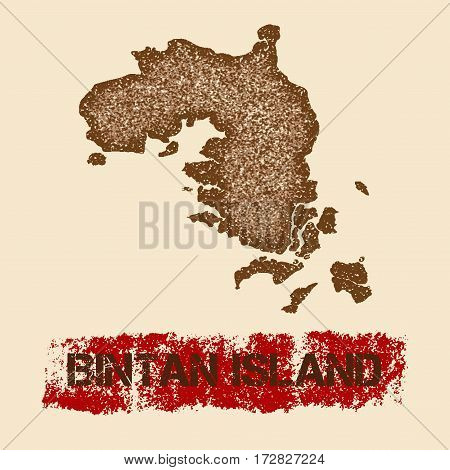 Bintan Island Distressed Map. Grunge Patriotic Poster With Textured Island Ink Stamp And Roller Pain