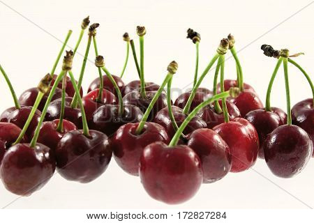 Group of ripe cherry on white background