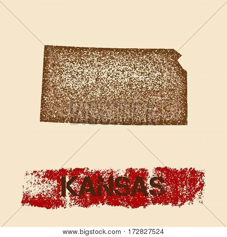 Kansas Distressed Map. Grunge Patriotic Poster With Textured State Ink Stamp And Roller Paint Mark,