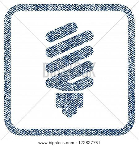 Fluorescent Bulb vector textured icon for overlay watermark stamps. Blue jeans fabric vectorized texture. Symbol with dirty design inside rounded rectangular frame.