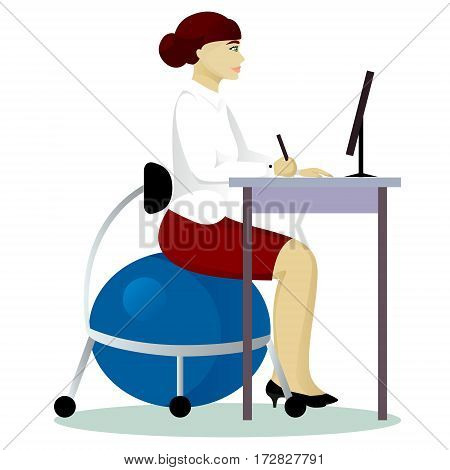 woman sit on fitball at work isolated vector