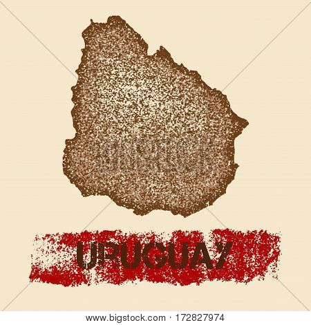 Uruguay Distressed Map. Grunge Patriotic Poster With Textured Country Ink Stamp And Roller Paint Mar