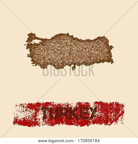 Turkey Distressed Map. Grunge Patriotic Poster With Textured Country Ink Stamp And Roller Paint Mark