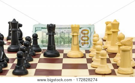 Chess king pieces opponents for money on white background
