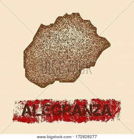 Alegranza Distressed Map. Grunge Patriotic Poster With Textured Island Ink Stamp And Roller Paint Ma