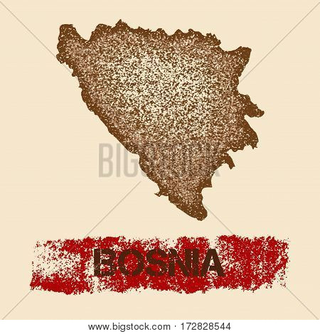 Bosnia Distressed Map. Grunge Patriotic Poster With Textured Country Ink Stamp And Roller Paint Mark