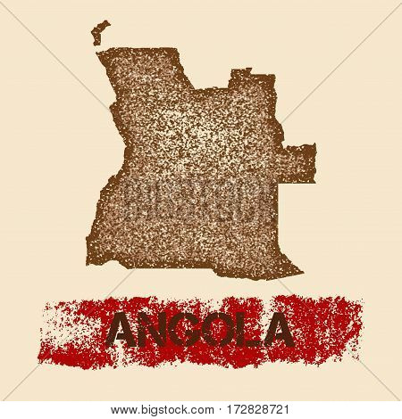 Angola Distressed Map. Grunge Patriotic Poster With Textured Country Ink Stamp And Roller Paint Mark