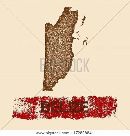 Belize Distressed Map. Grunge Patriotic Poster With Textured Country Ink Stamp And Roller Paint Mark