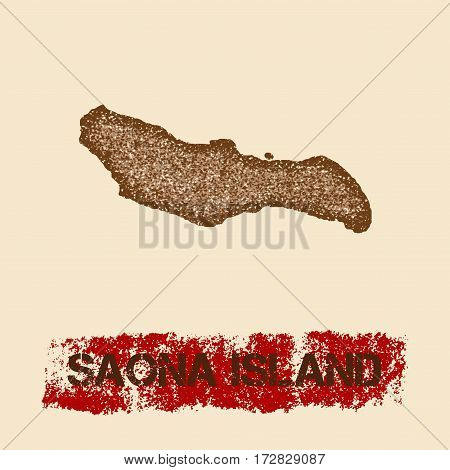 Saona Island Distressed Map. Grunge Patriotic Poster With Textured Island Ink Stamp And Roller Paint